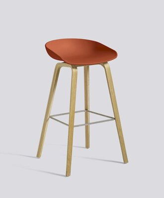 Barová židle About a Stool AAS 32 Oak veneer - Orange seat