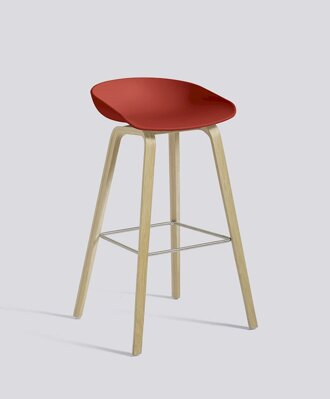 Barová židle About a Stool AAS 32 Oak Veneer - Warm Red seat