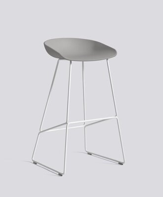 Barová židle AAS 38 White Powder Coated Steel - Concrete Grey