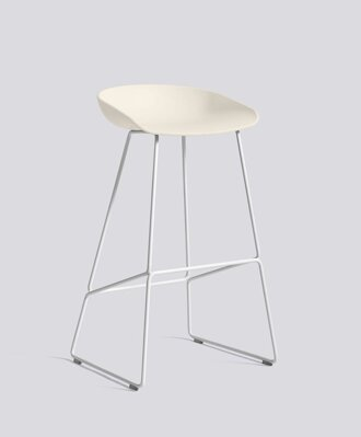 Barová židle AAS 38 White Powder Coated Steel - Cream White
