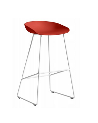 Barová židle AAS 38 White Powder Coated Steel - Warm Red
