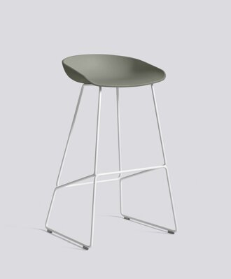 Barová židle AAS 38 White Powder Coated Steel - Dusty Green