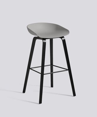 Barová židle About a Stool AAS 32 Black Stained Oak veneer - Concrete grey seat