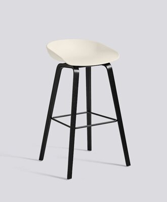 Barová židle About a Stool AAS 32 Black Stained Oak veneer - Cream White seat