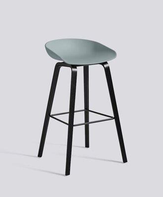Barová židle About a Stool AAS 32 Black Stained Oak veneer - Dusty Blue seat