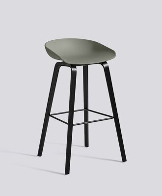 Barová židle About a Stool AAS 32 Black Stained Oak veneer - Dusty Green seat
