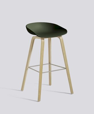 Barová židle About a Stool AAS 32 Oak veneer - Green seat