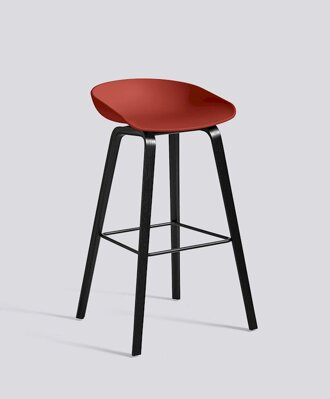 Barová židle About a Stool AAS 32 Black Stained Oak veneer - Warm Red seat