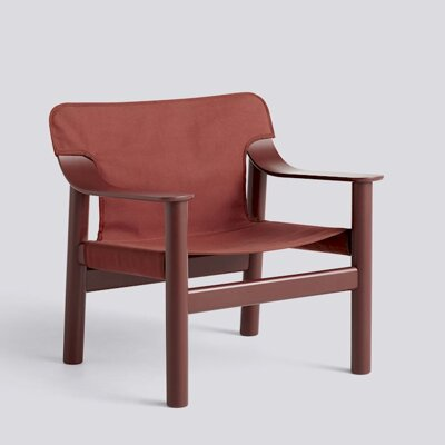 Křeslo BERNARD / BROWN RED PAINTED SOLID BEECH / RED CANVAS