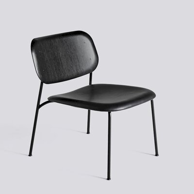 Křeslo Soft Edge 10 Lounge / Black Powder Coated Steel / Black Stained / Silk SIL0842 Seat Upholstery