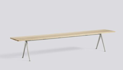 Lavice Pyramid Bench 12 / Beige Powder Coated Steel / Matt Lacquered Solid Oak / 250 x 40 x 46 cm