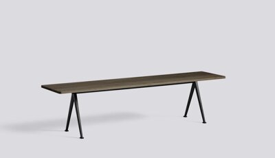 Lavice Pyramid Bench 12 / Black Powder Coated Steel / Smoked Solid Oak / 190 x 40 x 46 cm