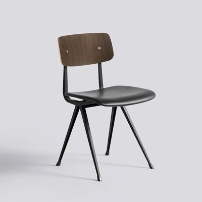 Židle Result Chair Upholstery, Black Powder Coated Steel, sedák čalouněný kůží - Black Silk SIL0842