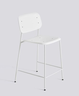 Barová židle Soft Edge P10 Bar Stool / Low White Powder Coated Steel / White
