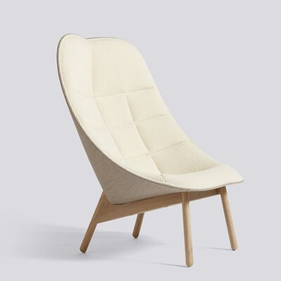 Křeslo Uchiwa Quilt / Matt lacquered solid oak / Flamiber cream A5 Canvas 244