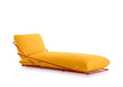 Lehátko Valentina Chaiselongue Red, látka Mustard Plain