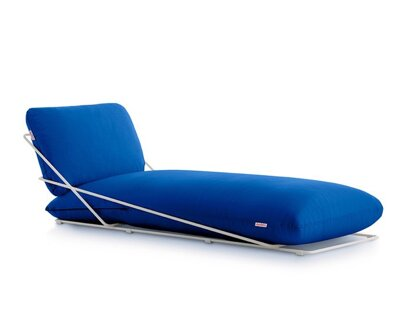 Lehátko Valentina Chaiselongue White, látka Blue Plain