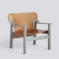 Křeslo BERNARD / BEIGE GREY PAINTED SOLID BEECH / BRANDY LEATHER