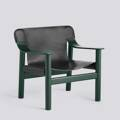 Křeslo BERNARD / HUNTER GREEN PAINTED SOLID BEECH / BLACK LEATHER