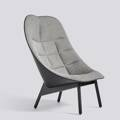 Křeslo Uchiwa / Black stained solid oak / Fairway grey 307-201 Silk SIL0842