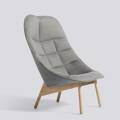Křeslo Uchiwa / Matt lacquered solid oak / Roden 05 Lola Warm grey