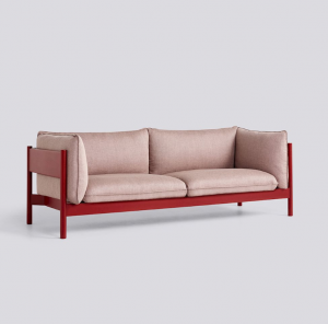 Sedačka Arbour 3 Seater / látka Re-Wool 648 / nohy Wine Red-Water Based Lacquered Solid Beech