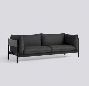 Sedačka Arbour 3 Seater / látka Re-Wool 198 / nohy Black-Water Based Lacquered Solid Beech