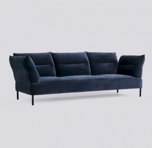 Sedačka Pandarine 3 Seater Reclining Armrest / látka Lola Navy / nohy Black Stained Solid Oak