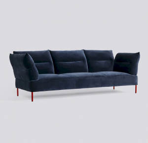 Sedačka Pandarine 3 Seater Reclining Armrest / látka Lola Navy / nohy Maroon Red Stained Solid Oak