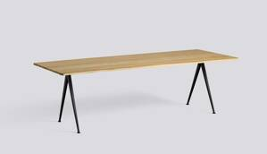 Stůl Pyramid table 02 / Black Powder Coated Steel / CLEAR LACQUERED SOLID OAK L250 X W85 X H74