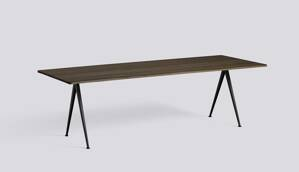 Stůl Pyramid table 02 / Black Powder Coated Steel / SMOKED SOLID OAK 250 X W85 X H74