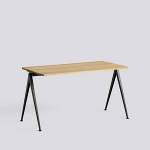 Psací stůl Pyramid Table 01 / Black Powder Coated Steel / CLEAR LACQUERED SOLID OAK
