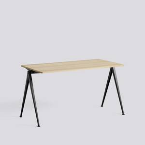 Psací stůl Pyramid Table 01 / Black Powder Coated Steel / MATT LACQUERED SOLID OAK