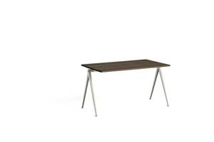 Psací stůl Pyramid Table 01 / Beige Powder Coated Steel /  SMOKED SOLID OAK
