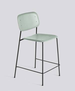 Barová židle Soft Edge 10 Bar Stool / Low Black Powder Coated Steel / Dusty Green Stained