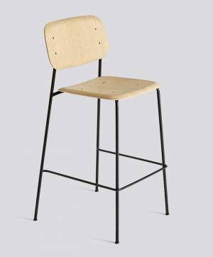 Barová židle Soft Edge 10 Bar Stool / High Black Powder Coated Steel / Matt Lacquered