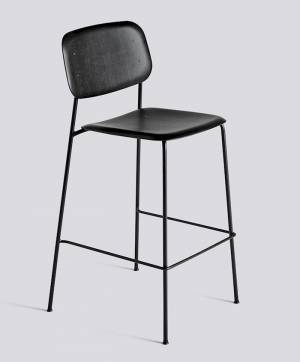 Barová židle Soft Edge 10 Bar Stool / High Black Powder Coated Steel / Black Stained