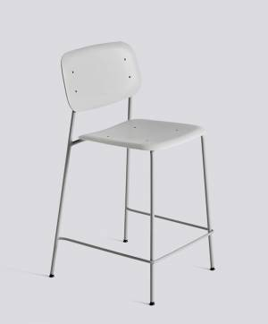 Barová židle Soft Edge P10 Bar Stool / Low Soft Grey Powder Coated Steel / Soft Grey