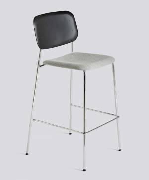 Barová židle Soft Edge P10 Bar Stool / High Chromed Steel / Black / Hallingdal 166 Seat Upholstery